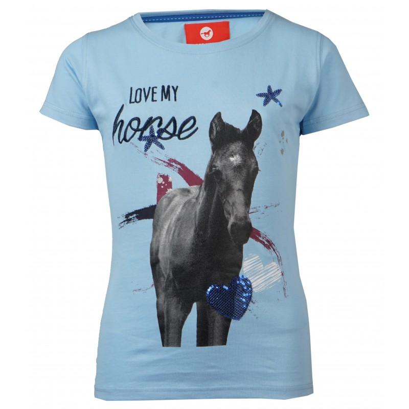 "T-shirt ""Love my horse"" - Lyseblå"