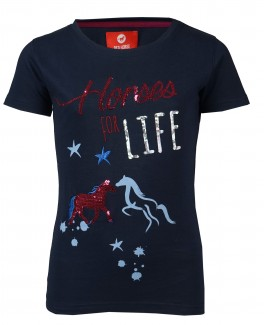 "T-shirt ""Horses for life"" Navy-20"