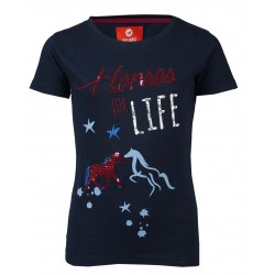 "T-shirt ""Horses for life"" - Navy"